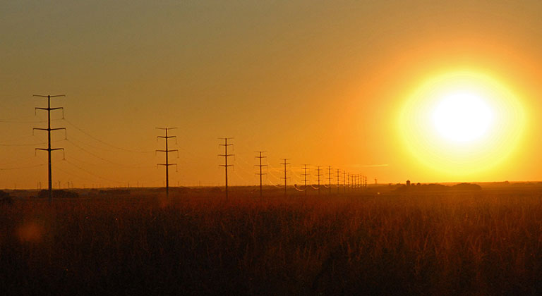 Transmission line at sunset