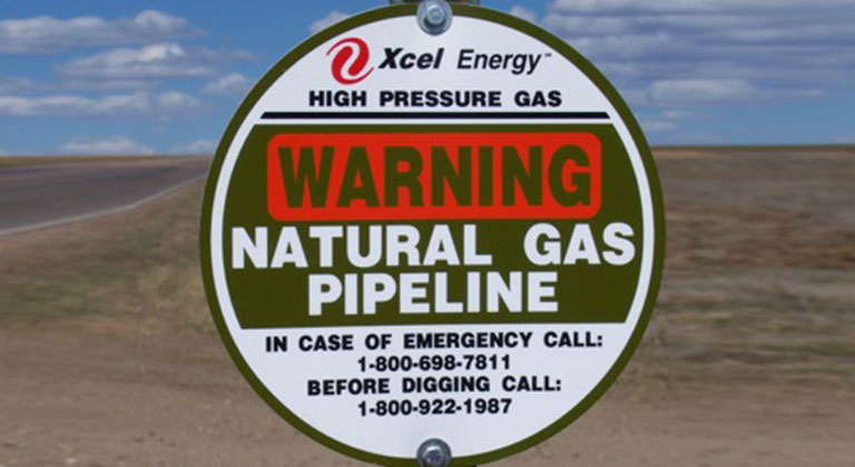 Natural gas pipeline warning sign