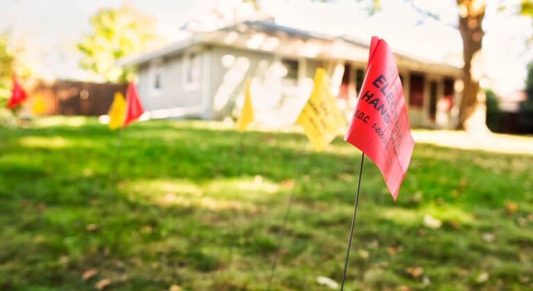 Safety flags in a yard