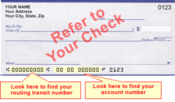 routing transit number account number check location